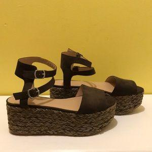 Zara Trafaluc Boho Woven Platform Sandals Size 39